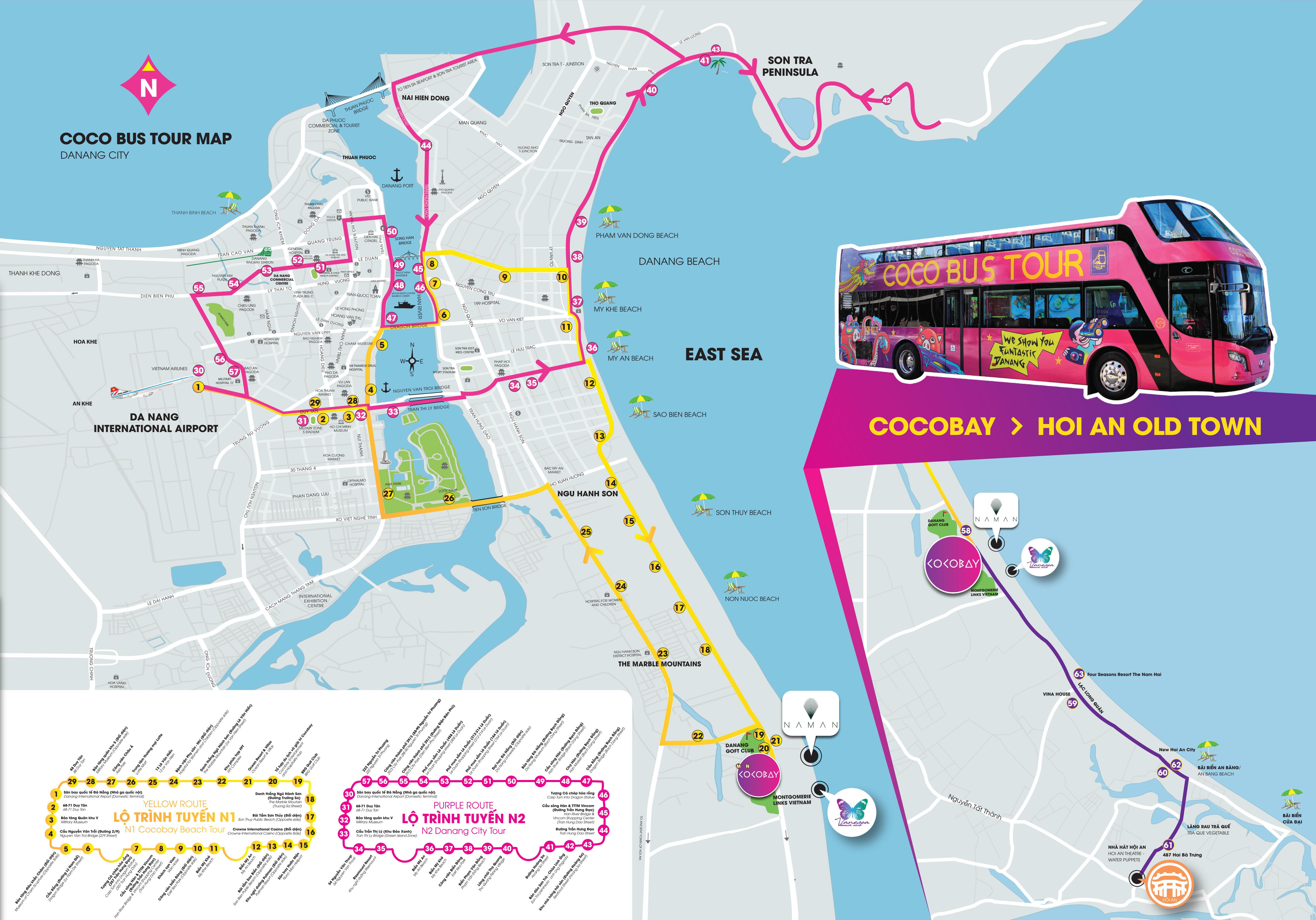 маршрут автобуса coco bus в Дананге